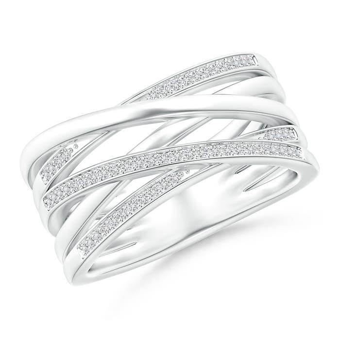 Angara Triple Row Dotted Diamond Orbit Ring tdMWJF