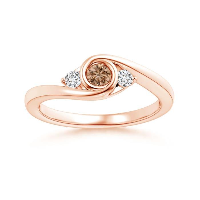 Angara Brown Diamond Three Stone Ring in Yellow Gold OBa5qHr9vd