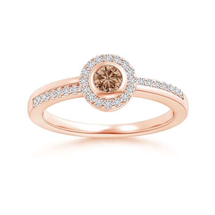 Angara Brown Diamond Halo Promise Ring in Yellow Gold aMDgkXIz8