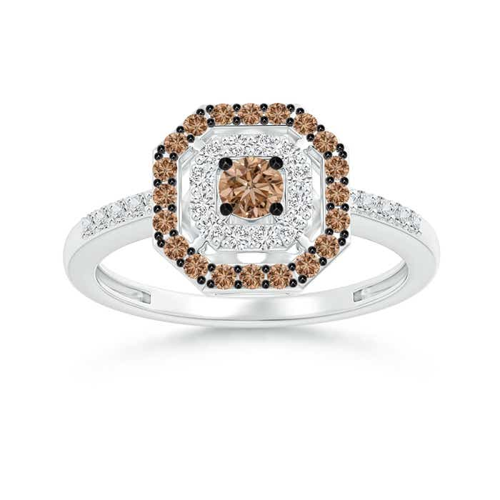 Angara Split Shank Brown and White Diamond Square Cluster Ring