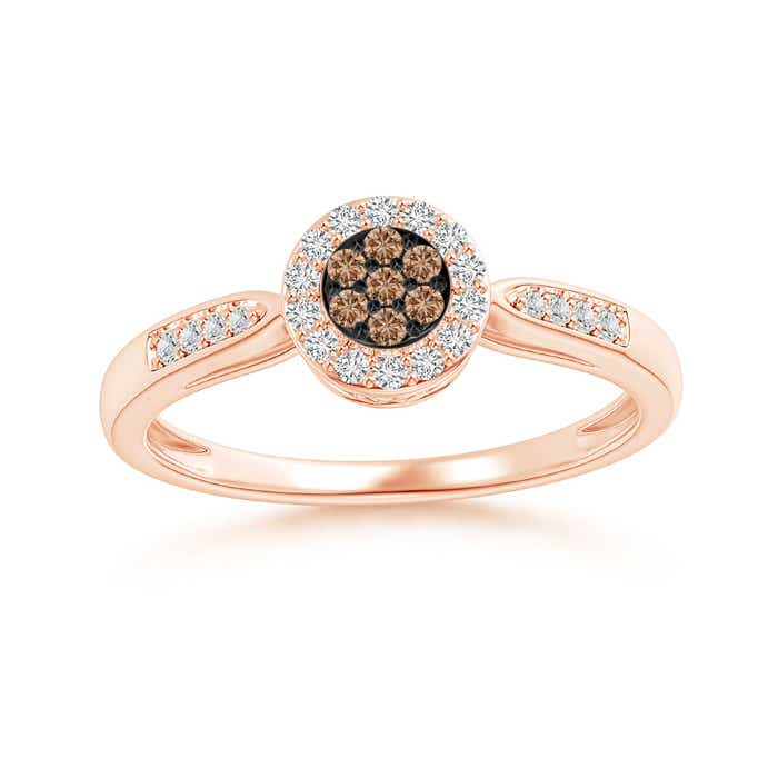 Angara s Brown Diamond Cluster Halo Ring in White Gold 1cBb1