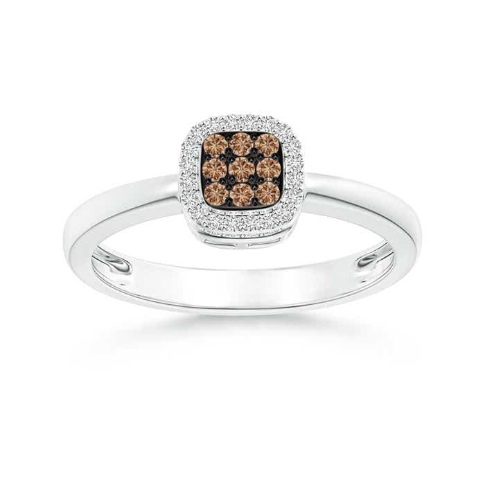 Angara Brown Diamond Octagon Halo Ring in Rose Gold