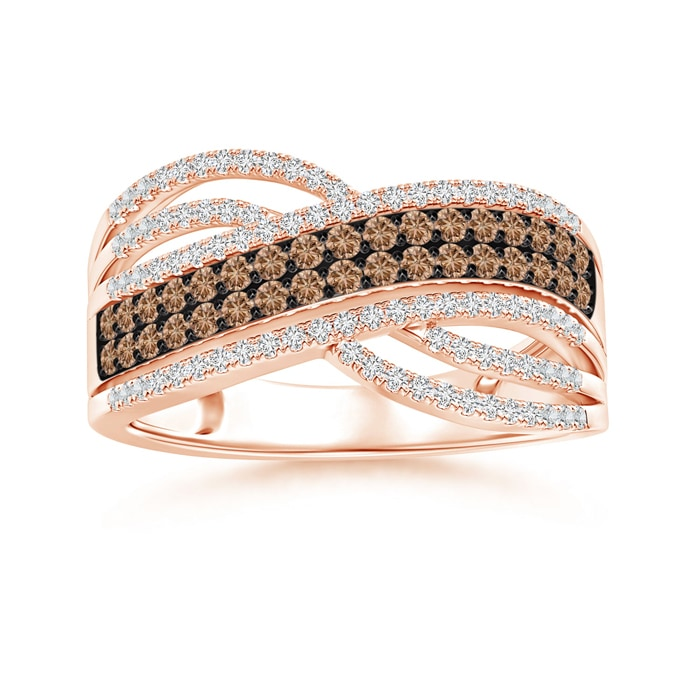 Angara Brown Diamond Multi-Row Crossover Ring in Rose Gold yVcMd