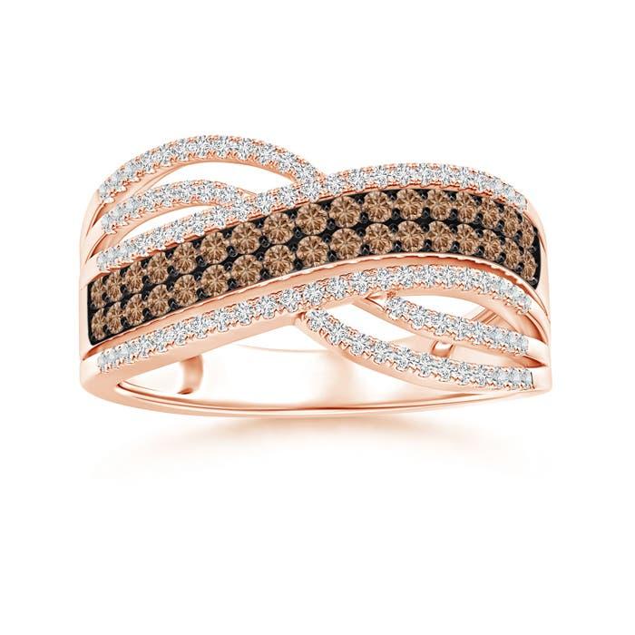 Angara Multi-Row White and Brown Diamond Crossover Wedding Band GlTinn3