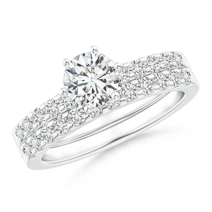 Angara Cluster Round Diamond Halo Engagement Ring in Prong Set