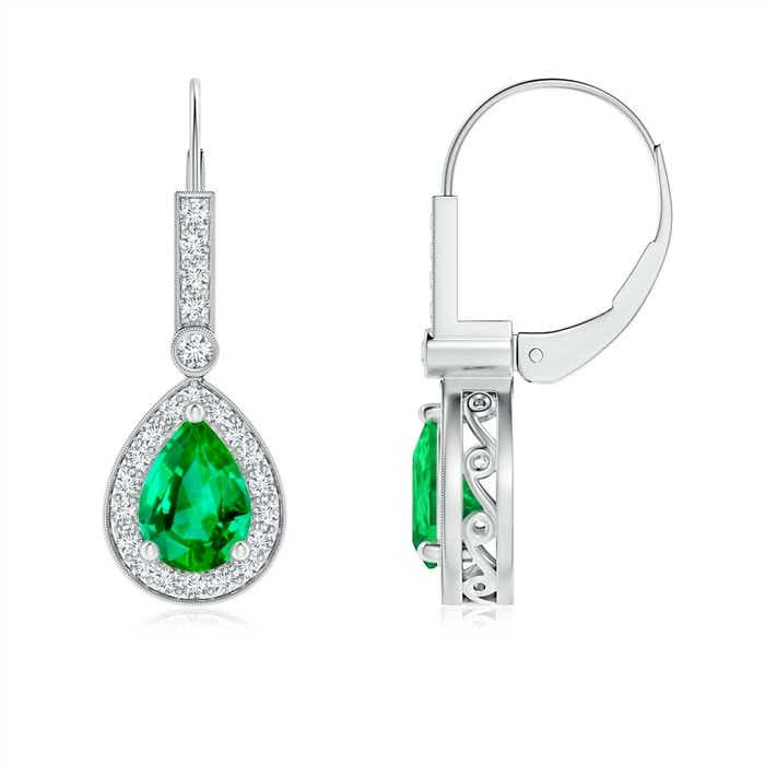 Angara Pear Emerald Leverback Earrings in Platinum 1Ap4K