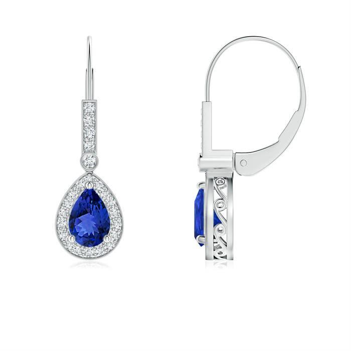 Angara Vintage-Inspired Pear Blue Sapphire Solitaire Earrings XU3Yg8dkA2