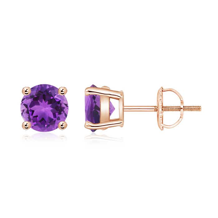 Angara Basket Amethyst Stud Earrings in Yellow Gold XLT2dR7