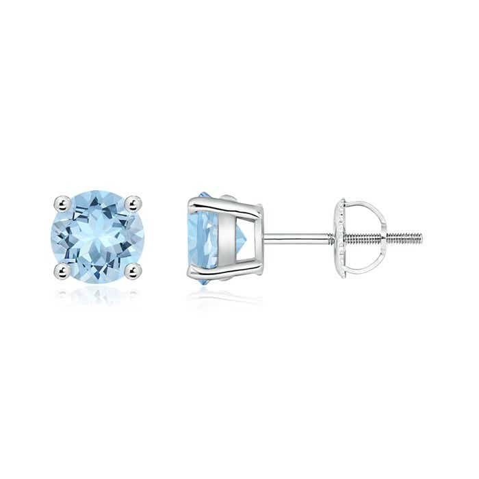 Angara Solitaire Aquamarine Heart Earrings in White Gold 07rSnkQSKs