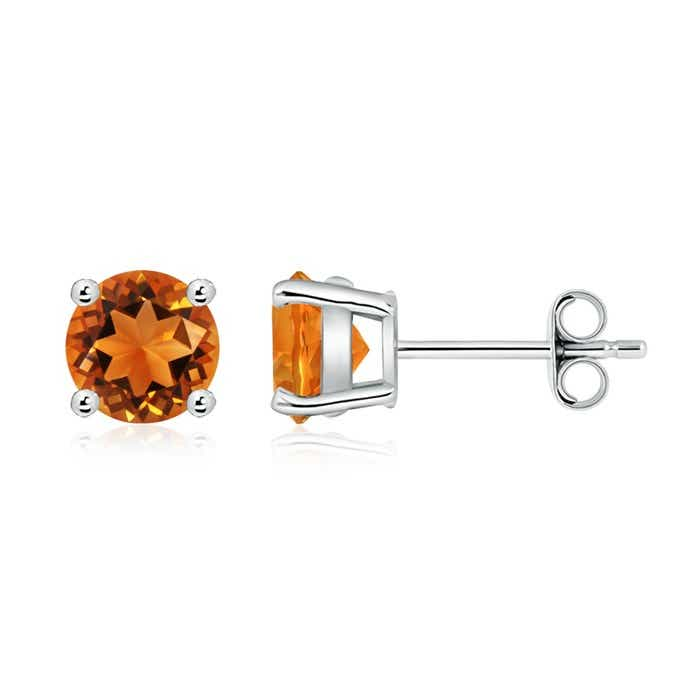 Angara Citrine Basket-Set Stud Earrings in Platinum eZfic