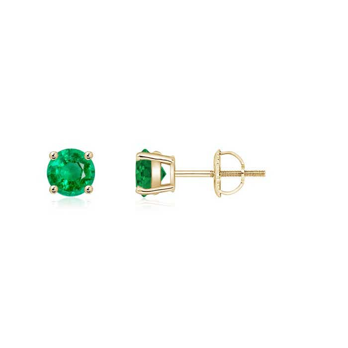 Angara Diamond and Emerald Basket Stud Earrings in Yellow Gold pclPLr