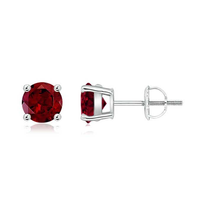 Angara Garnet Earrings in Platinum with Screw Back mUOMmoeR1