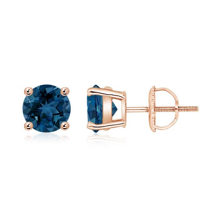 Angara Claw-Set London Blue Topaz Clover Stud Earrings uUA4CGWd