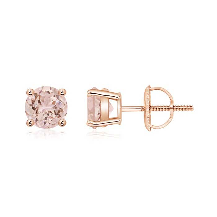 Angara Basket-Set Round Morganite Stud Earrings with Diamond xZMdcKrEab