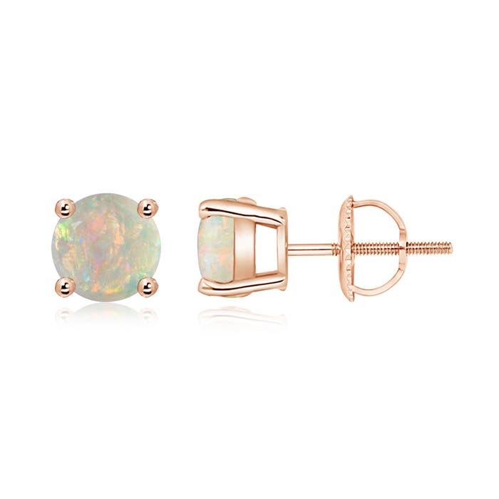 Angara Basket-Set Round Opal Stud Earrings with Diamond 1qPdPJ9ICw