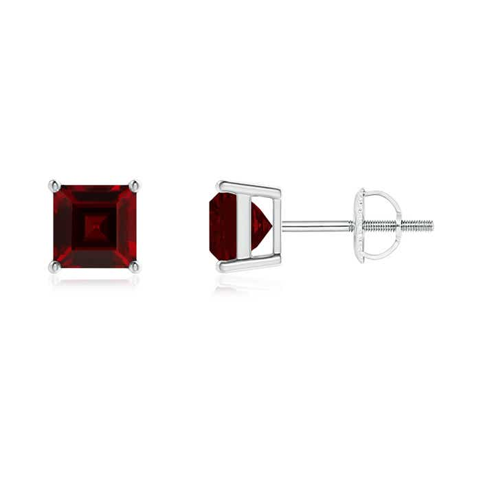 Angara White Gold Basket-Set Garnet Stud Earrings