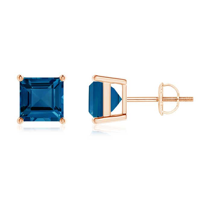 Angara Classic Basket-Set Square Aquamarine Stud Earrings SrA44jJF
