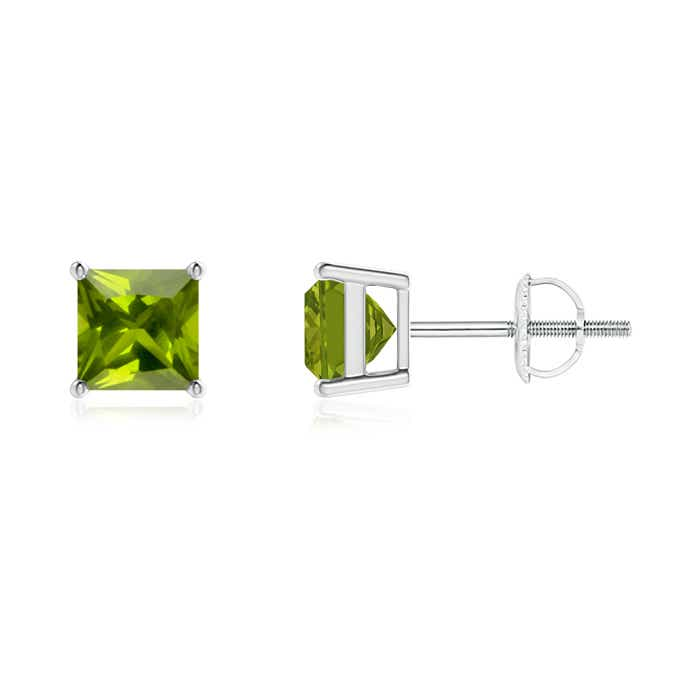 Angara Basket-Set Peridot Stud Earrings in Rose Gold