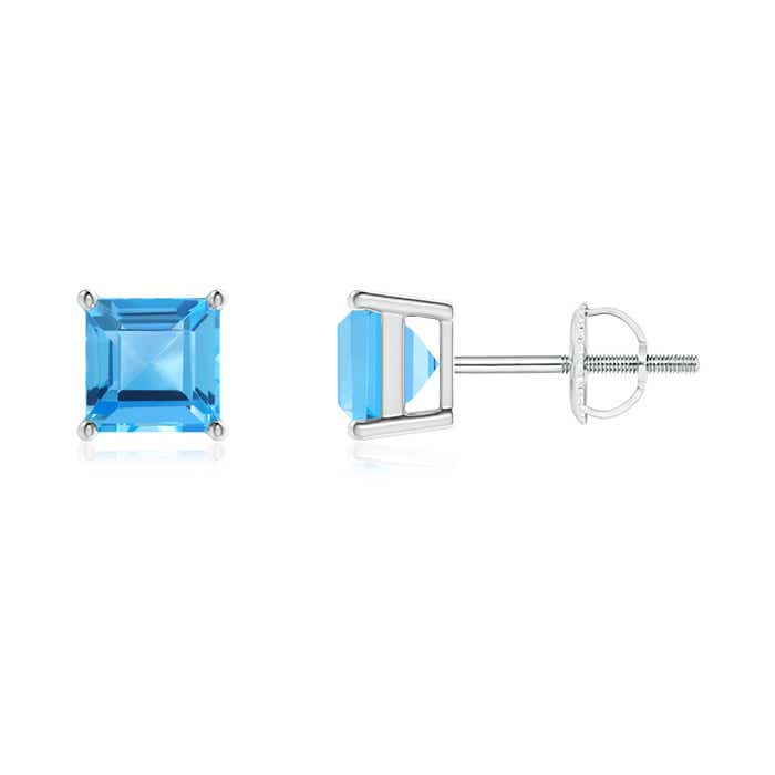 Angara Floating Square Swiss Blue Topaz and Diamond Halo Earrings