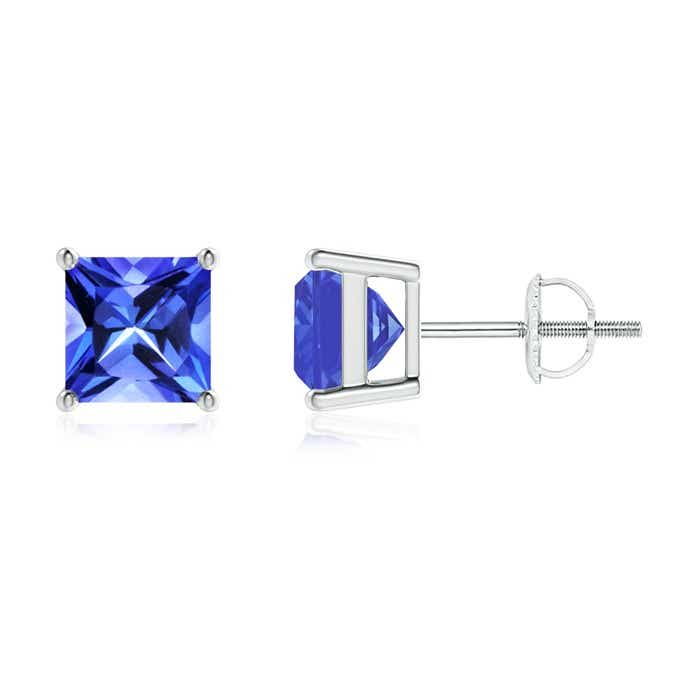 Angara Four Prong Set Square Aquamarine Basket Stud Earrings in White Gold AKiopCiaUr