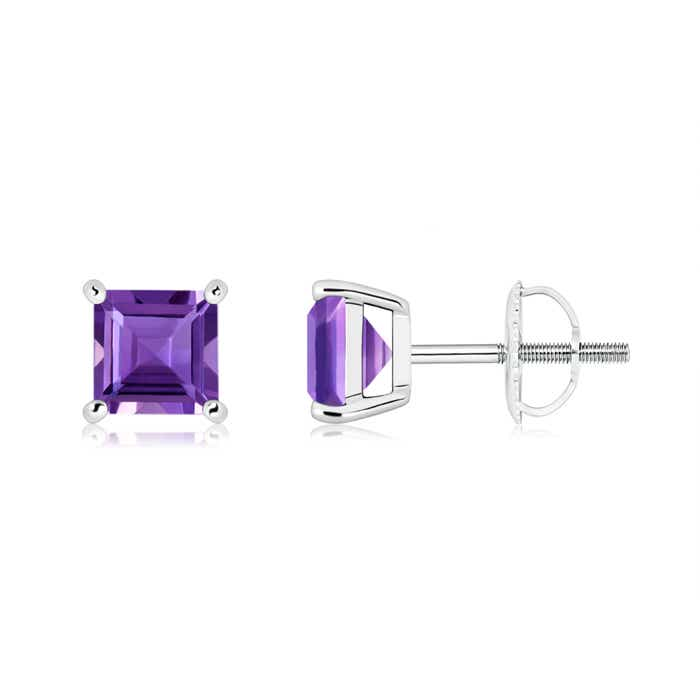Angara Solitaire Square Amethyst Clover Earrings iVOz1