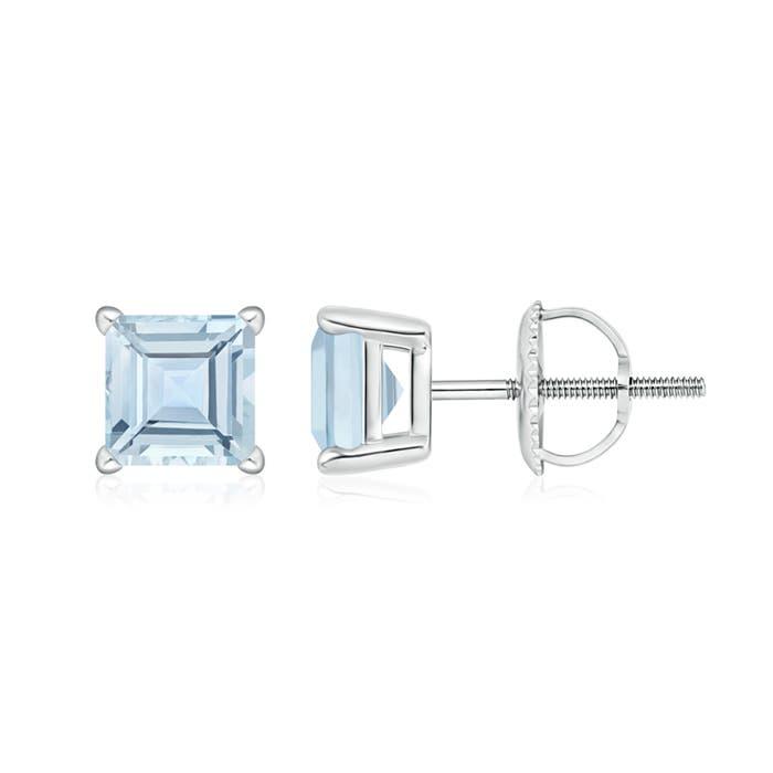 Angara Square Aquamarine Basket Stud Earrings in 14k White Gold szdSL9kK40