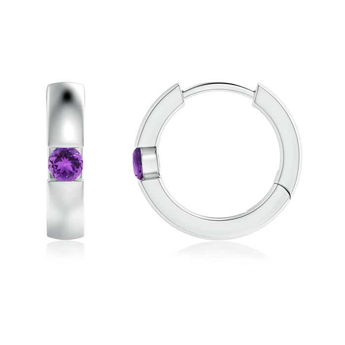 Angara Amethyst J-Hoop Earrings in White Gold