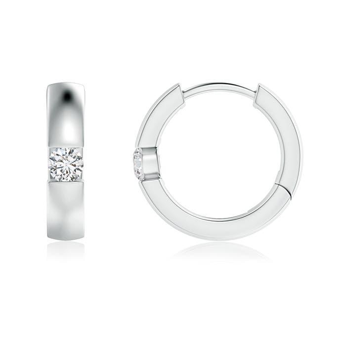 Angara Diamond Hinged Hoop Earrings in Rose Gold xrcBXVw