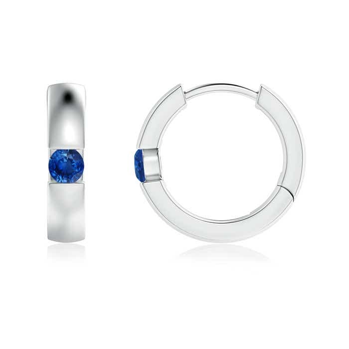 Angara Blue Sapphire Hinged Hoop Earrings in White Gold UHgWtyyF