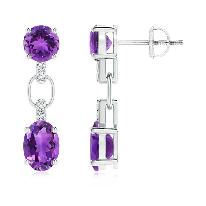 Angara Oval Amethyst Circle Dangle Earrings With Diamond Accents D0wHJvrb