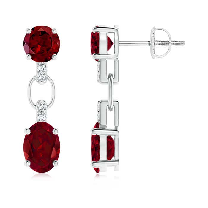 Angara Round and Oval Garnet Dangle Earrings with Diamond Accents jDqR1Bkdp