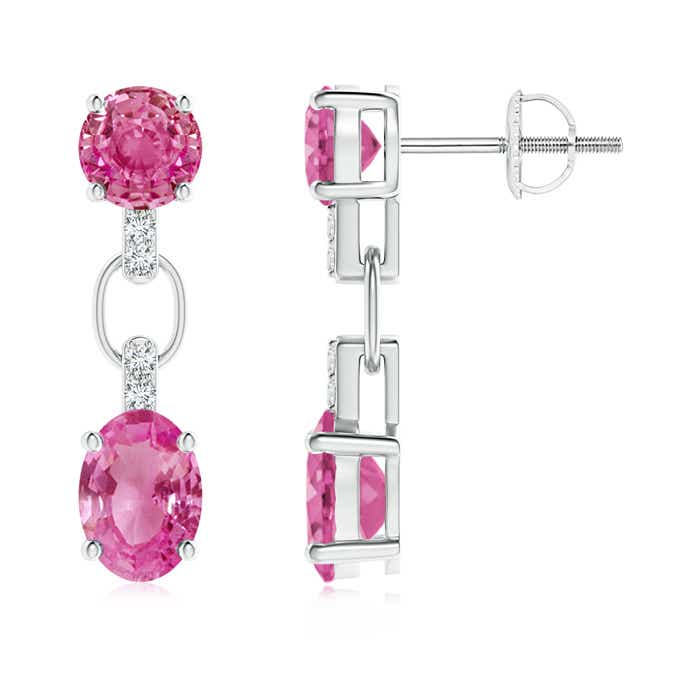 Angara Round and Oval Pink Sapphire Dangle Earrings with Diamonds