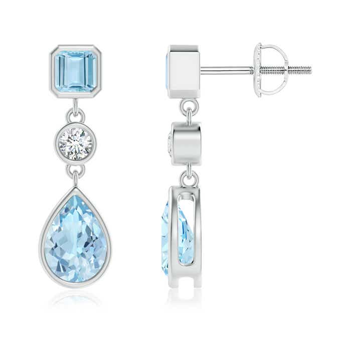 Angara Platinum Pear Shaped Aquamarine Earrings rqJdsUonL6
