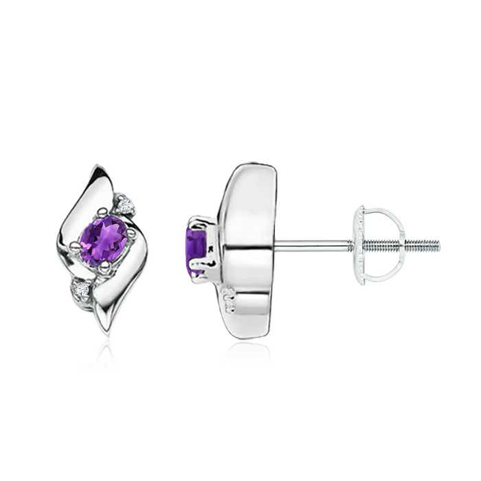 Angara Oval Amethyst and Diamond Shell Stud Earrings in Rose Gold Ph0zH