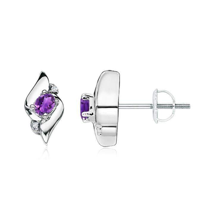 Angara Shell Style Amethyst and Diamond Stud Earrings aI4beG54aW