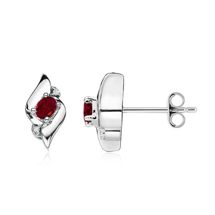 Angara Oval Garnet Stud Earrings Yellow Gold lmLTHetzp2