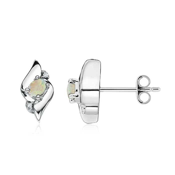 Angara Oval Opal and Diamond Basket Stud Earrings in Yellow Gold JElorXN