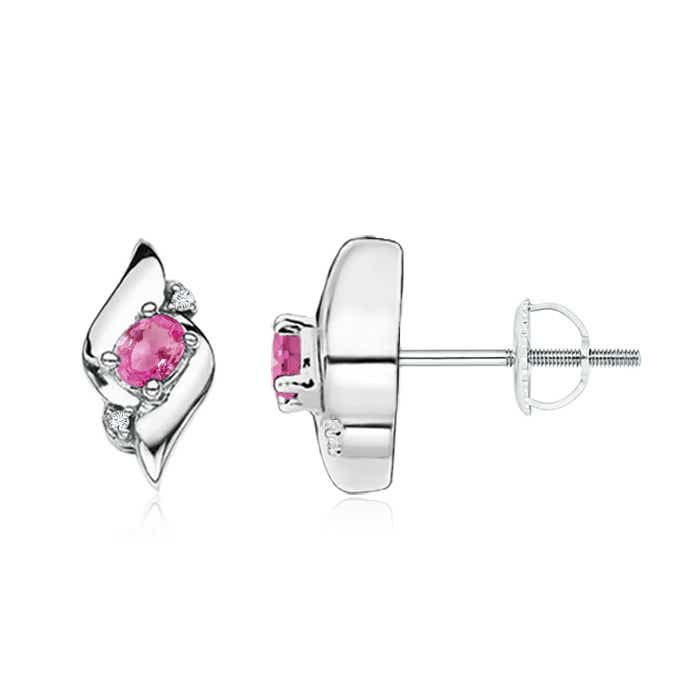 Angara Solitaire Pink Sapphire Stud Earrings in Rose Gold Uh5GuElR