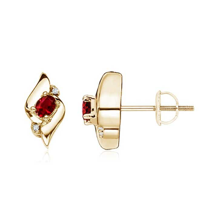 Angara Oval Ruby Diamond Basket Stud Earrings in Rose Gold jcaRKnn