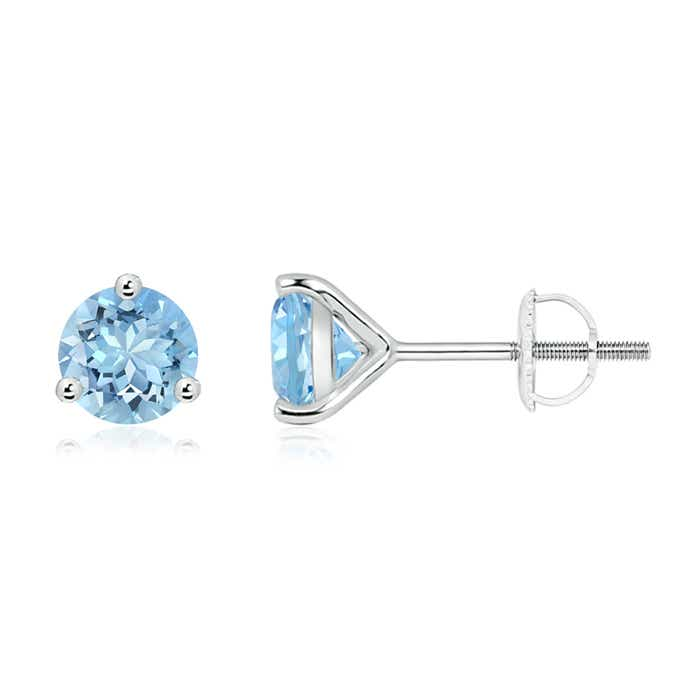 Angara Natural Aquamarine Stud Earrings Set in Platinum