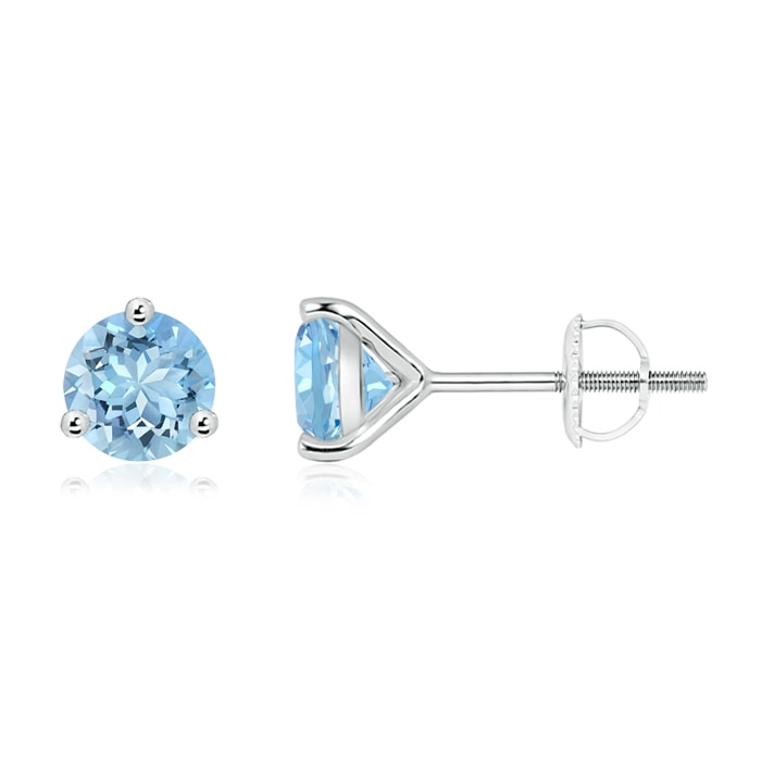Angara Round Aquamarine Stud Earrings in White Gold lwJrDO