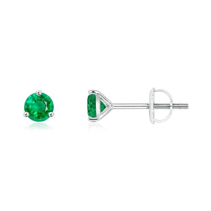 Angara Solitaire Emerald Stud Earrings in Rose Gold