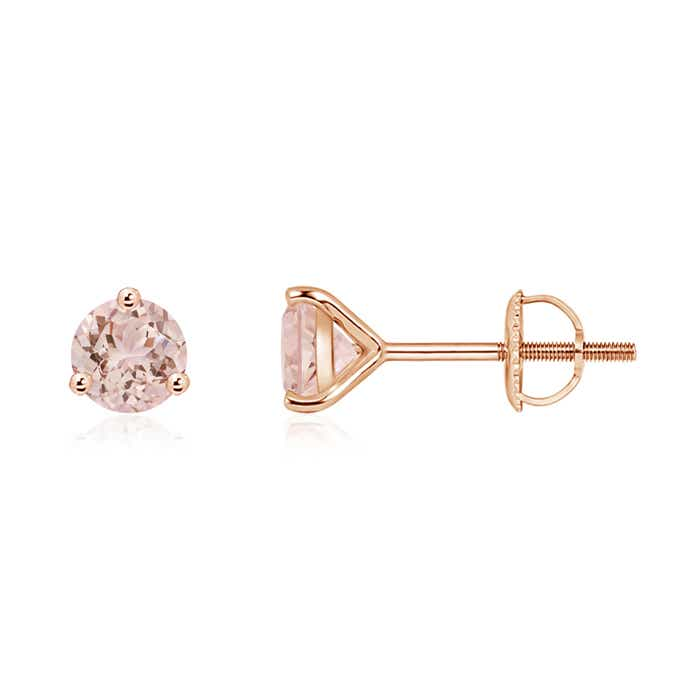 Angara Morganite Martini Stud Earrings in Yellow Gold
