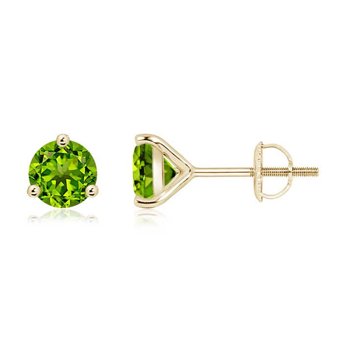 Angara Prong Set Peridot Stud Earrings in Platinum ICUET