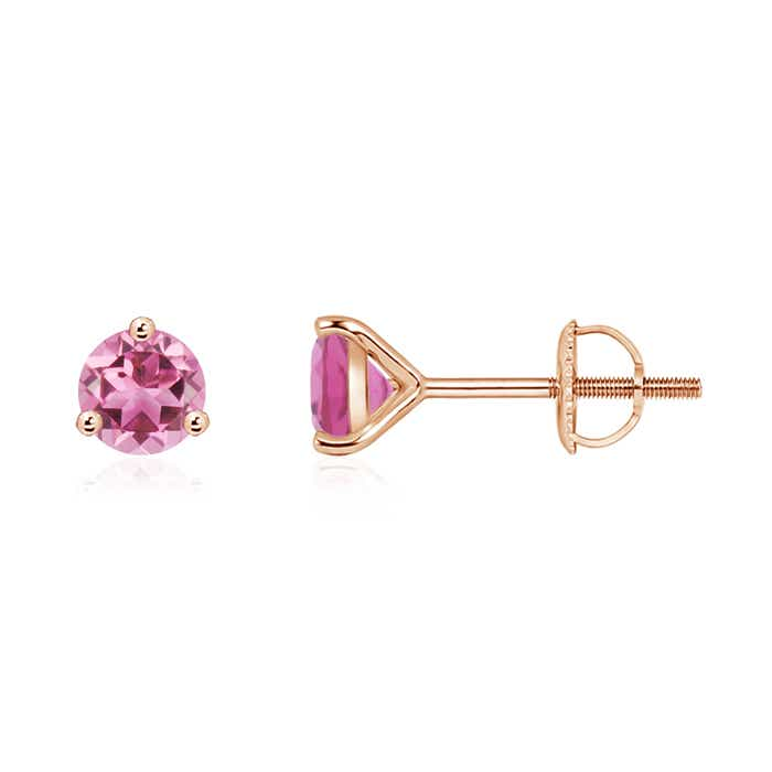 Angara Round Pink Tourmaline Diamond Stud Earrings in Yellow Gold