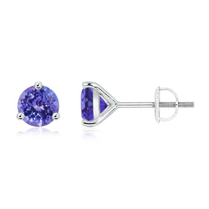 Angara Round Tanzanite Basket Stud Earrings in White Gold