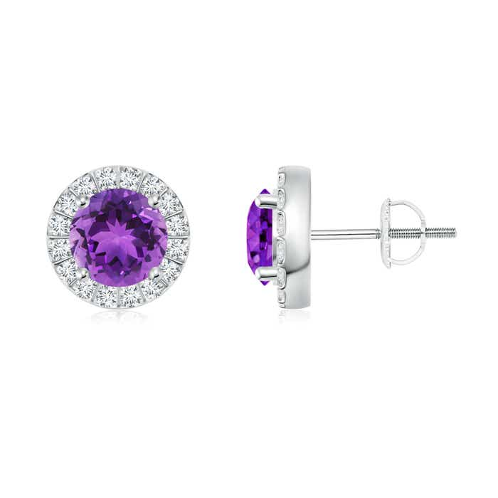 Angara Round Amethyst and Diamond Halo Stud Earrings in Yellow Gold