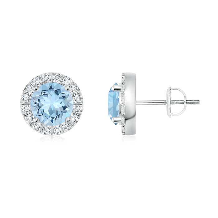 Angara Bar Set Round Diamond Halo Aquamarine Stud Earrings in Platinum eQIFcfJd