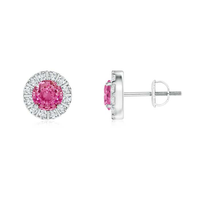 Angara Diamond Halo Pink Sapphire Vintage Style Studs in White Gold
