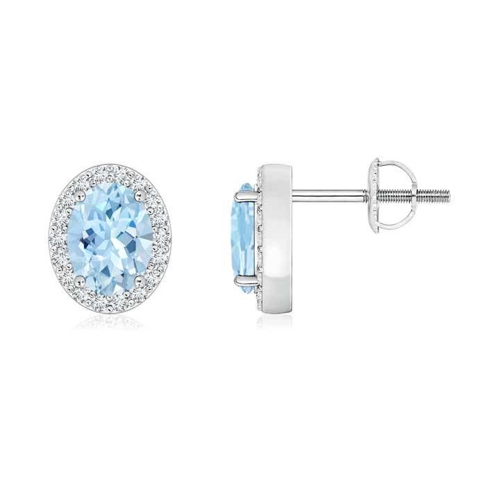 Angara Oval Aquamarine Studs with Diamond Halo
